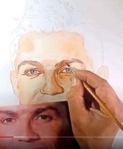 Pintura aquarela Cristiano Ronaldo passo a passo