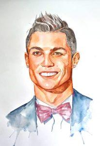 Pintura com aquarelas de Cristiano Ronaldo