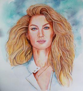 Pintura com aguarelas Gisele Bundchen